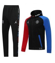 Paris Saint Germain Black Hoodie Jacket Kit Red Blue Sleeves 2019-2020