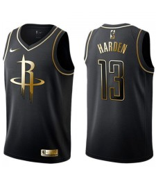 2019 All Star Game Houston Rockets 13 Maillot de basket-ball James Harden Nba doré noir