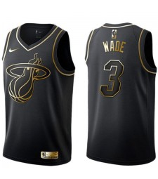 2019 All Star Game Hommes Miami Heat 3 Dwyane Wade Basketball Nba Jersey MVP Noir