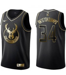 Maillots de basket-ball or noir 2019 de la NBA milwaukee dollars giannis antetokounmpo 34