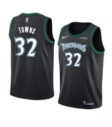 Minnesota Timberwolves Karl Anthony Towns 32# Jersey Black Green Side 2018/2019