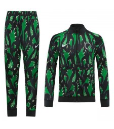 Nigeria Mens Football Black Green Printing Training Soccer Jacket Kit 2020-2021
