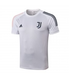 Juventus Light Grey Col rond Football Hommes Formation de football Chemise à manches courtes 20202-2021
