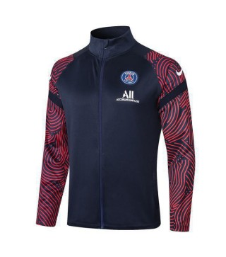 Paris Saint Germain Dark Blue Long Zipper Mens Soccer Jacket Print Sleeves 2020-2021
