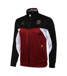 Jordan Paris Saint-Germain Black/Red Soccer Jacket Pants Mens Football Tracksuit Uniforms 2021-2022