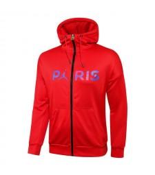 Jordan Paris Saint-Germain Red Soccer Hoodie Jacket Football Tracksuit Uniforms 2021-2022