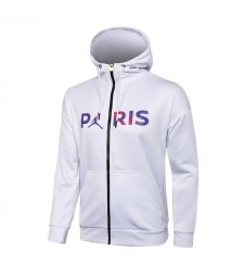 Jordan Paris Saint-Germain White Soccer Hoodie Jacket Football Tracksuit Uniforms 2021-2022