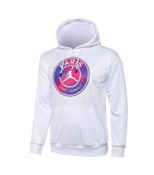 Jordan Paris Saint-Germain White Soccer Hoodie Football Tracksuit Uniforms 2021-2022