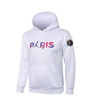 Jordan Paris Saint-Germain White Soccer Hoodie Football Tracksuit Uniforms 2021-2022