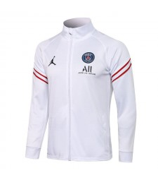 Jordan Paris Saint-Germain White Soccer Jacket Pants Mens Football Tracksuit Uniforms 2021-2022