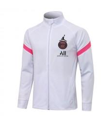 Jordan Paris Saint-Germain White Soccer Jacket Pants Football Tracksuit Uniforms 2021-2022