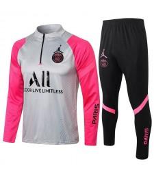 Jordan Paris Saint-Germain Gray/Pink Soccer Tracksuit Mens Football  Uniforms 2021-2022
