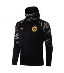 Borussia Dortmund Black Soccer Hoodie Jacket Football Tracksuit Uniforms 2021-2022