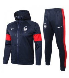 France Natinal Team Royal Blue Mens Soccer Hoddie Jacket Football Kit 2020-2021