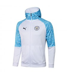 Manchester City White Soccer Hoodie Jacket Football Tracksuit Uniforms 2021-2022