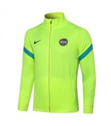 Inter Milan Fluorescent Green High Neck Soccer Jacket Pants Mens Football Tracksuit Uniforms 2021-2022